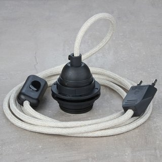 Textilkabel Lampenpendel Kiesel mit E27 Kunststoff Lampenfassung Schnurschalter und Euro-Flachstecker schwarz