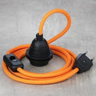 Textilkabel Lampenpendel orange mit E27 Kunststoff Lampenfassung Schnurschalter und Euro-Flachstecker schwarz