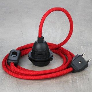 Textilkabel Lampenpendel rot mit E27 Kunststoff Lampenfassung Schnurschalter und Euro-Flachstecker schwarz