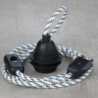 Textilkabel Lampenpendel schwarz-weiß mit E27 Kunststoff Lampenfassung Schnurschalter und Euro-Flachstecker schwarz
