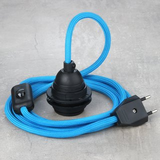 Textilkabel Lampenpendel blau mit E27 Kunststoff Lampenfassung Schnurschalter und Euro-Flachstecker schwarz