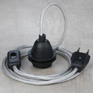 Textilkabel Lampenpendel silber mit E27 Kunststoff Lampenfassung Schnurschalter und Euro-Flachstecker schwarz