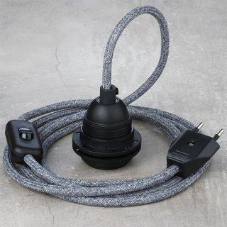 Textilkabel Lampenpendel steingrau mit E27 Kunststoff Lampenfassung Schnurschalter und Euro-Flachstecker schwarz