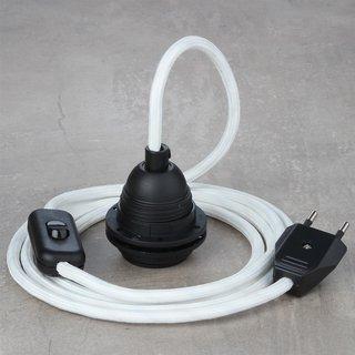 Textilkabel Lampenpendel weiß mit E27 Kunststoff Lampenfassung Schnurschalter und Euro-Flachstecker schwarz